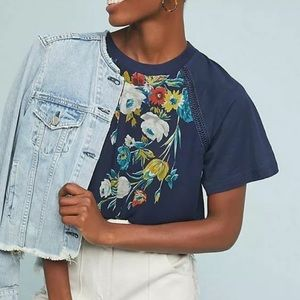 Anthropologie Tiny Floral Top Blouse Navy Career